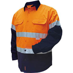 PRIME MOVER MF101 COTTON DRILL SHIRT FLAME RETARDANT WITH REFLECTIVE TAPE 2 TONE