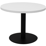 RAPIDLINE CIRCULAR COFFEE TABLE 600 X 425MM NATURAL WHITE TABLE TOP  BLACK POWDER COAT BASE