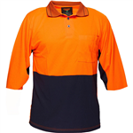PRIME MOVER MP113 TWO TONED MICRO MESH POLO SHIRT