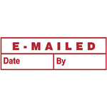 DESKMATE PREINKED STAMP EMAILED DATE AND BY RED