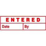 DESKMATE PREINKED STAMP ENTERED DATE AND BY RED