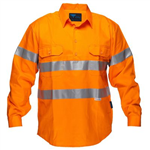 PRIME MOVER MC191 HI VIS DRILL SHIRT LONG SLEEVE CLOSED FRONT WITH TAPE FULL COLOUR