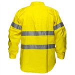 PRIME MOVER MA191 HI VIS COTTON DRILL SHIRT LONG SLEEVE WITH TAPE FULL COLOUR