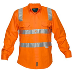 PRIME MOVER MS191 HI VIS COTTON DRILL SHIRT LONG SLEEVE WITH TAPE OVER SHOULDER FULL COLOUR