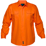 PRIME MOVER MS301 HIVIS LIGHTWEIGHT COTTON DRILL SHIRT LONG SLEEVE ORANGE