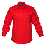 PRIME MOVER MV278 HIVIS LIGHTWEIGHT COTTON DRILL SHIRT LONG SLEEVE RED