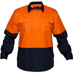 PRIME MOVER MC801 COTTON DRILL SHIRT LONG SLEEVE LIGHTWEIGHT CLOSED FRONT 2 TONE